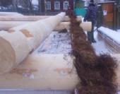 Мох уложен толстым слоем,что обеспечивает теплоту дома